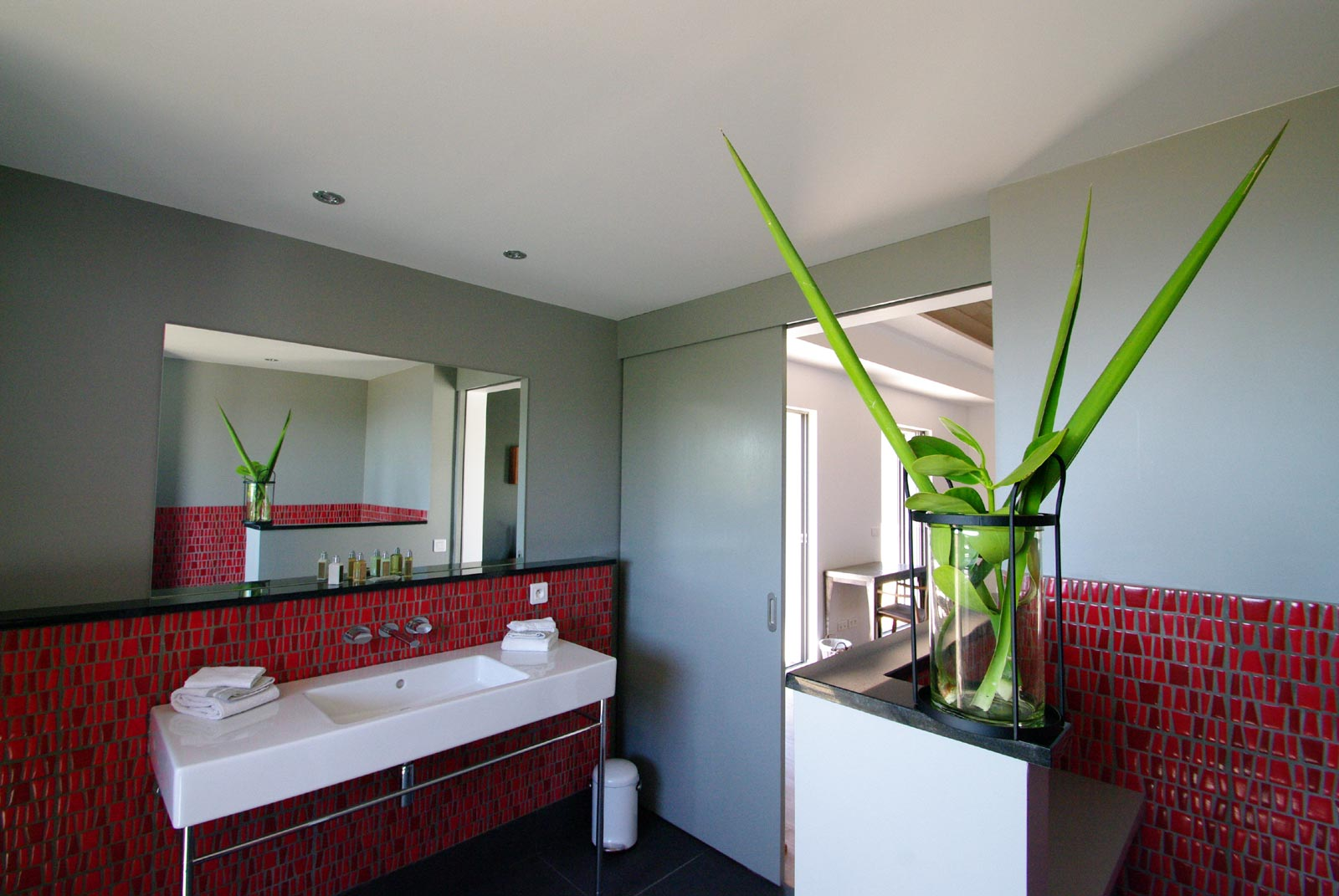 A spacious, modern bathroom at Lagon Vert, Petit Cul de Sac, St. Barths luxury vacation villas.