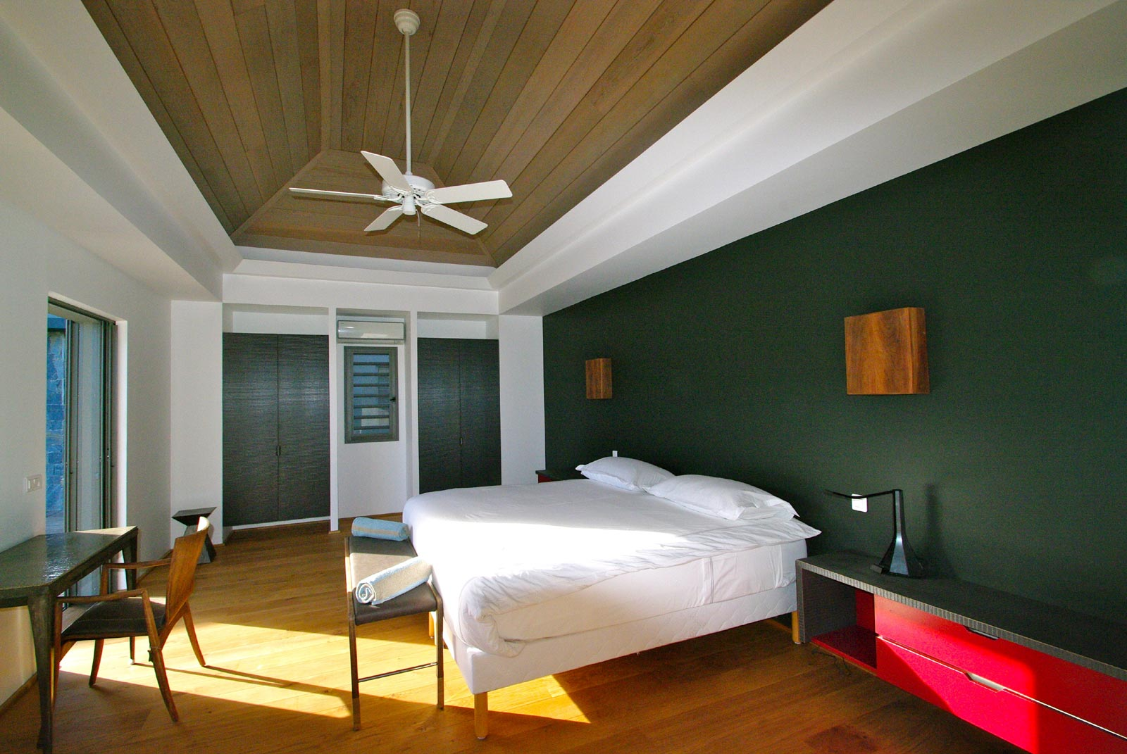 A spacious, modern bedroom at Lagon Vert, Petit Cul de Sac, St. Barths luxury vacation villas.