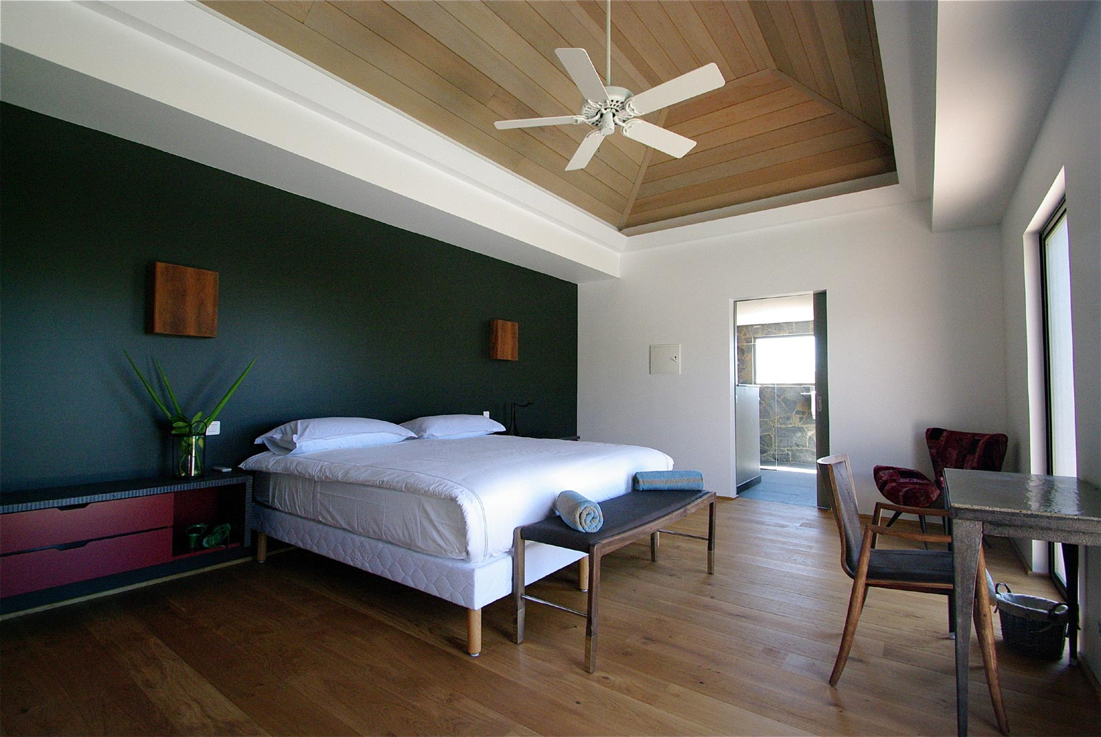 A spacious, modern bedroom at Green Lagoon  Petit Cul de Sac, St. Barts luxury vacation villas.