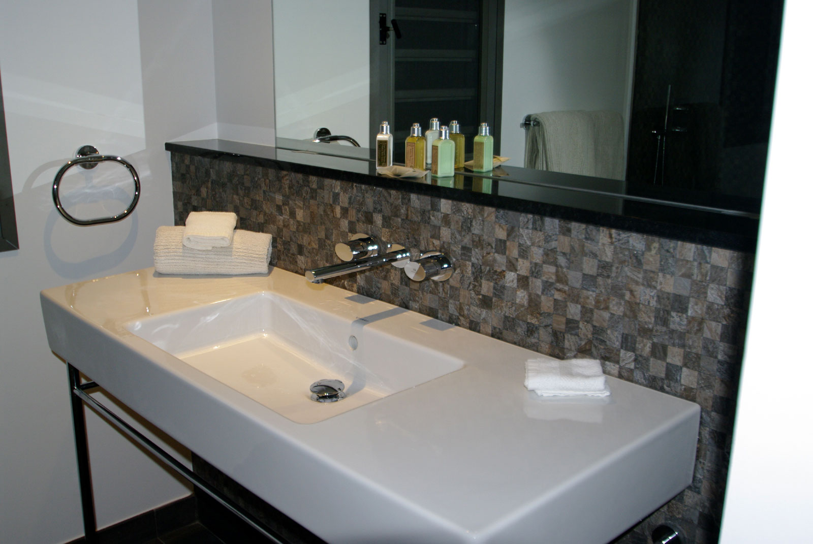 A spacious, modern bathroom at Green Lagoon, Petit Cul de Sac, St. Barts luxury villa rentals, Caribbean.