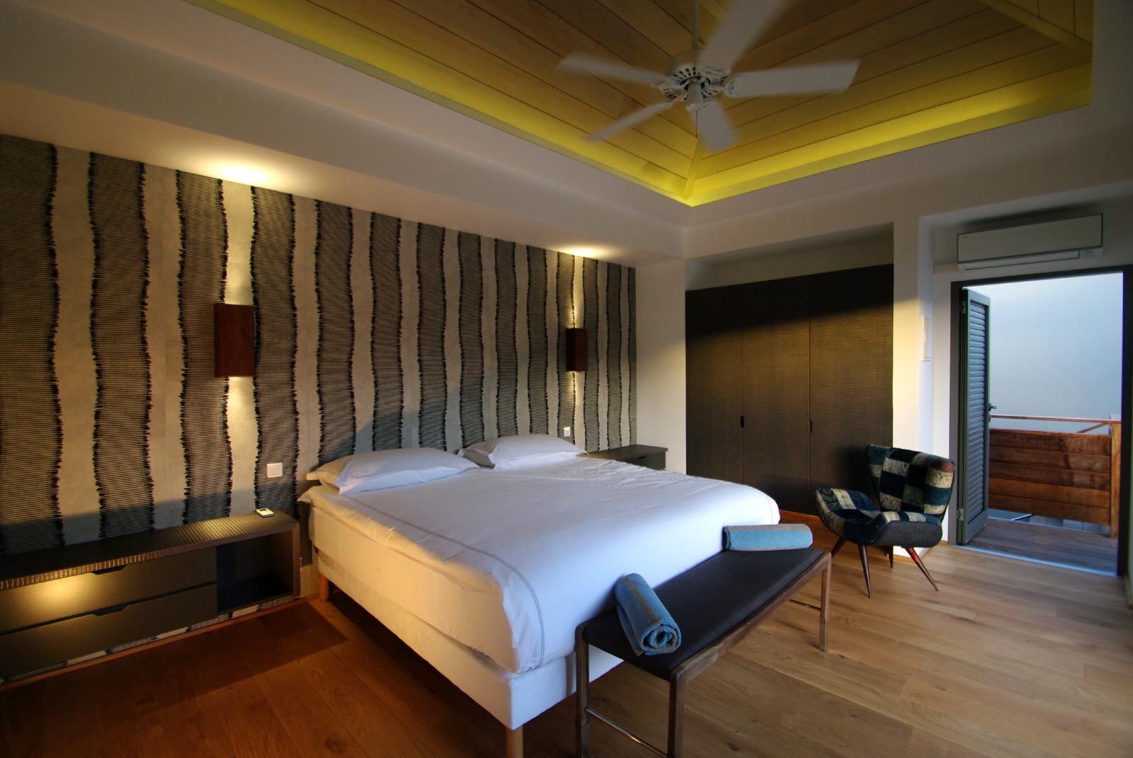 A spacious, modern bedroom at Lagon Vert, Petit Cul de Sac, St. Barths luxury villa rentals.