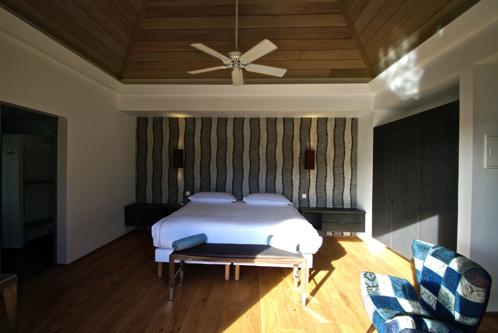 A spacious, modern bedroom at Lagon Vert, Petit Cul de Sac, St. Barts luxury villa rentals.