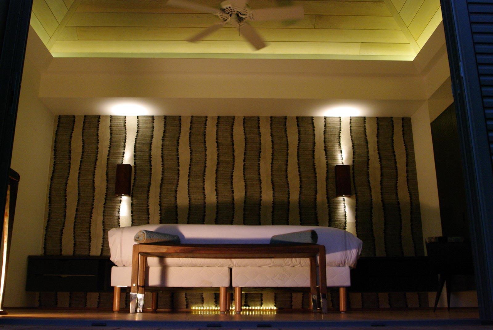 A spacious, modern bedroom at Green Lagoon, Petit Cul de Sac, St. Barts luxury villa rentals.