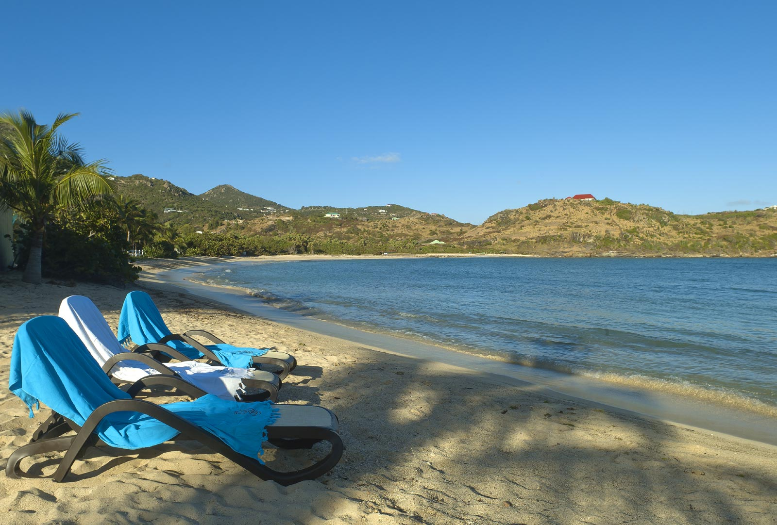 The beautiful, private beach of Petit Cul de Sac, St. Barts, Caribbean.