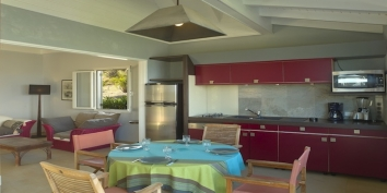 The modern and fully equipped kitchen of Baby Blue, Levant Estate, Petit Cul de Sac, St. Barts villa rentals.