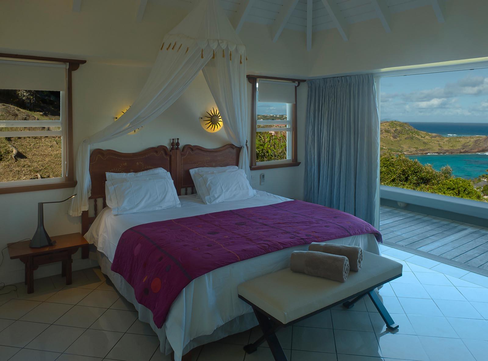 A spacious and comfortable bedroom at Villa Blue Lagoon, Petit Cul de Sac, St. Barts villa rentals.