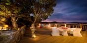 The tropical ambiance for alfresco dining on your private terrace in this St. Barts vacation villa rental, Carribean.