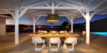 Feel the wonderful atmosphere at night in the Villa Yellow Lagoon, Petit Cul de Sac, St. Barts, Caribbean.