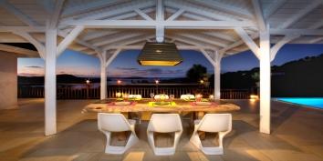 Feel the wonderful atmosphere at night in the Villa Yellow Lagoon, Petit Cul de Sac, St. Barts, Caribbean.