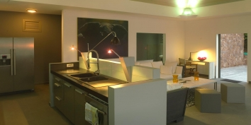 The contemporary and fully equipped kitchen of Villa Datcha, Flamands Heights, St. Barths luxury villa rentals.
