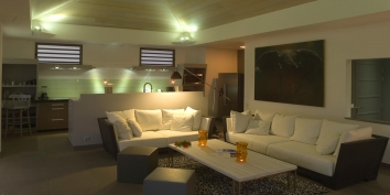 The open-plan living area of Villa Datcha, Flamands Heights, St. Barts luxury vacation rentals.