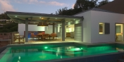 The swimming pool with pool lights at Villa Datcha, Flamands Heights, St. Barts luxury villa rentals.