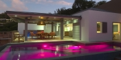 The swimming pool with pool lights at Villa Datcha, Flamands Heights, St. Barts luxury holiday villa rentals.