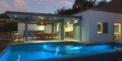 The swimming pool with pool lights at Villa Datcha, Flamands Heights, St. Barts, French West Indies.