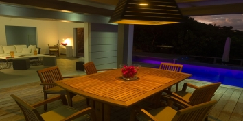 The dining terrace of Villa Datcha, Flamands Heights, St. Barts luxury villa rentals.