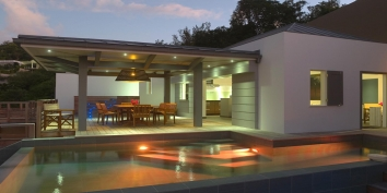 The swimming pool with pool lights at Villa Datcha, Flamands Heights, St. Barts, Caribbean luxury villa rentals.