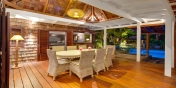 The outdoor dining area at Villa Lama, Flamands Heights, St. Barths, Caribbean.