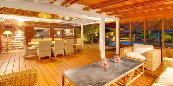 The outdoor living and dining area at Villa Lama, Flamands Heights, Saint-Barthélemy.
