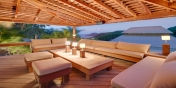 This St. Barths luxury villa rental has an outdoor living area in addition to the indoor TV lounge.