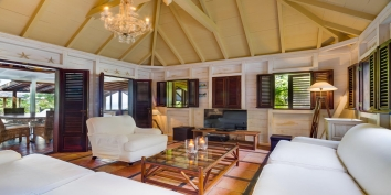 The indoor TV lounge at Villa Lama, Flamands Heights, St. Barths, Caribbean.