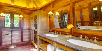 A spacious and luxurious bathroom at Villa Lama, Flamands Heights, Saint-Barthélemy.