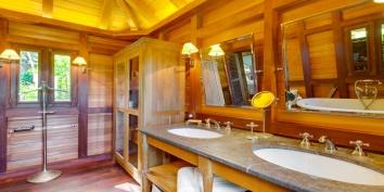 A spacious and luxurious bathroom at Villa Lama, Flamands Heights, Saint-Barthélemy.