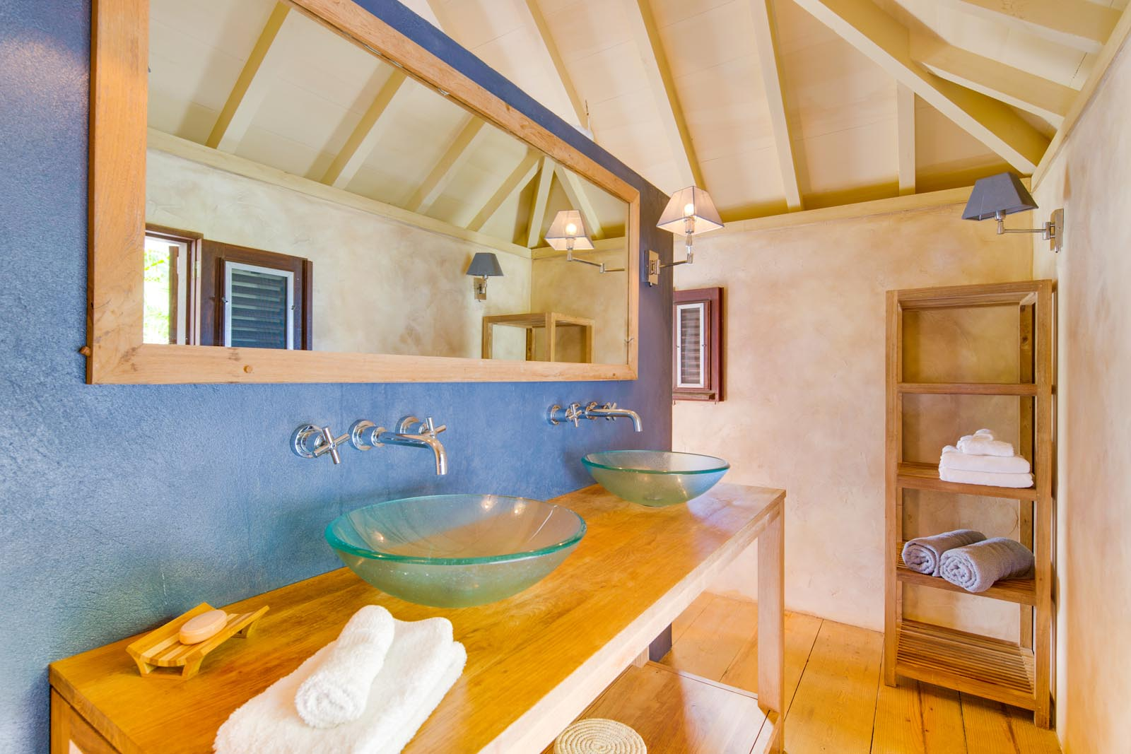 A luxury bathroom at Villa Lama, Flamands Heights, St. Barts, Caribbean.