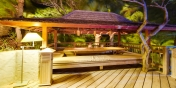 One of the cosy outdoor dining areas at Villa Lama, Flamands Heights, Saint-Barthélemy.