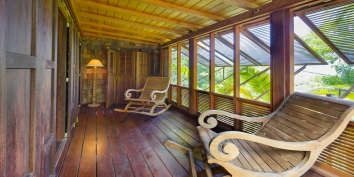 The private balcony of one of the bedrooms at this St. Barths luxury villa rental.