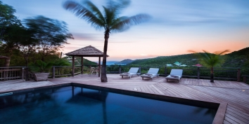 The swimming pool and spacious terrace at Villa Lama, Flamands Heights, Saint-Barthélemy.