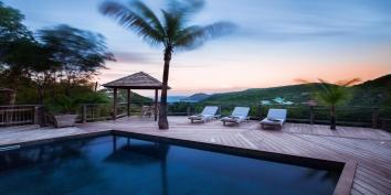 The swimming pool and spacious terrace at Villa Lama, Flamands Heights, Saint-Barthélemy.