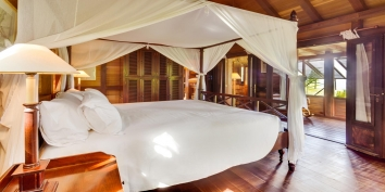 One of the beautiful bedrooms at Villa Lama, Flamands Heights, St. Barts, Caribbean.