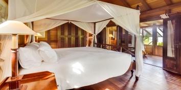 One of the beautiful bedrooms at Villa Lama, Flamands Heights, St. Barts, Caribbean.