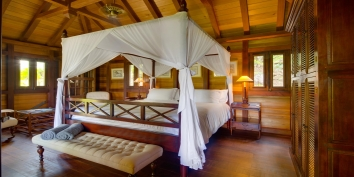 One of the beautiful bedrooms at Villa Lama, Flamands Heights, Saint-Barthélemy.