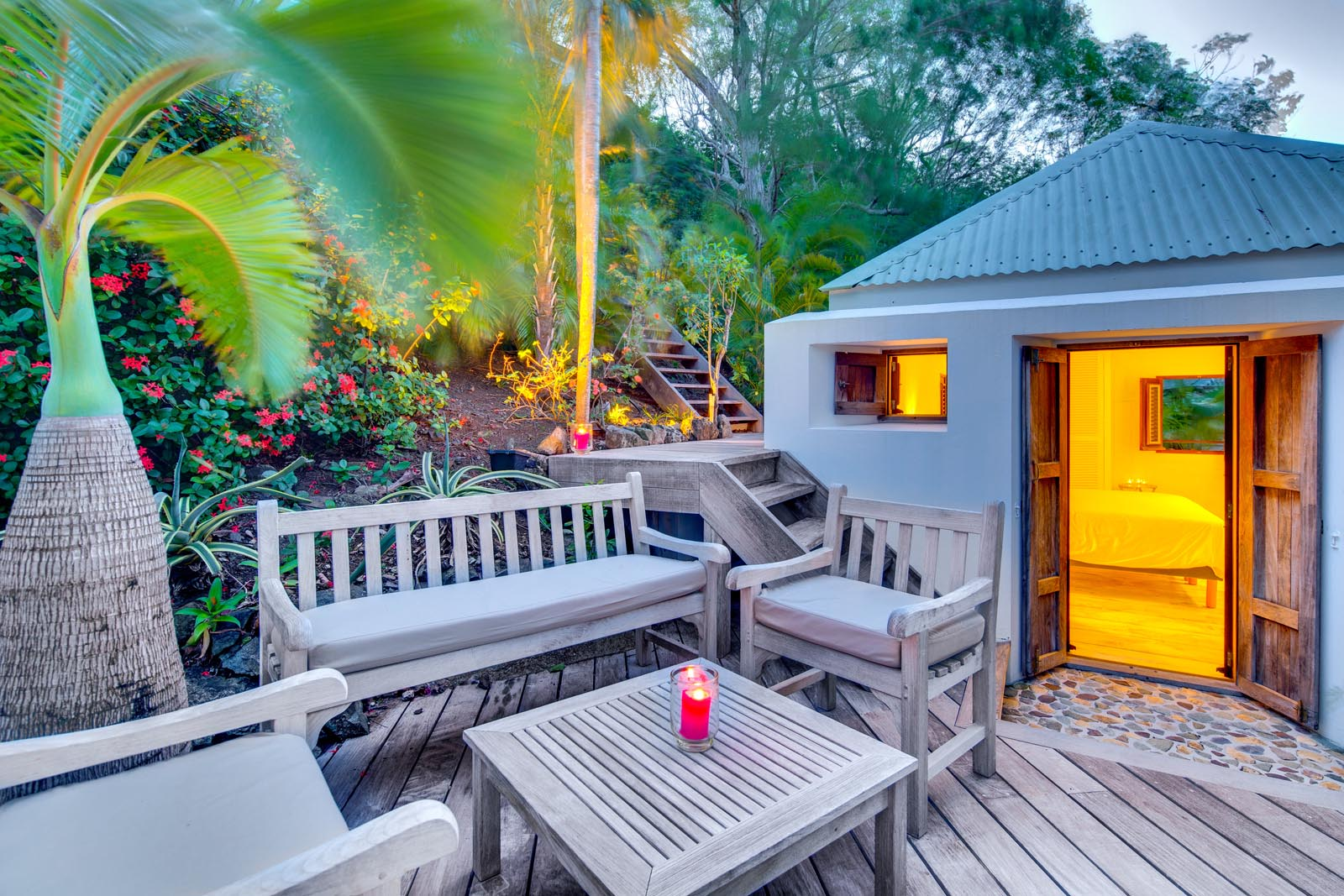 The private terrace of one of the bedrooms at Villa Lama, Flamands Heights, Saint-Barthélemy.