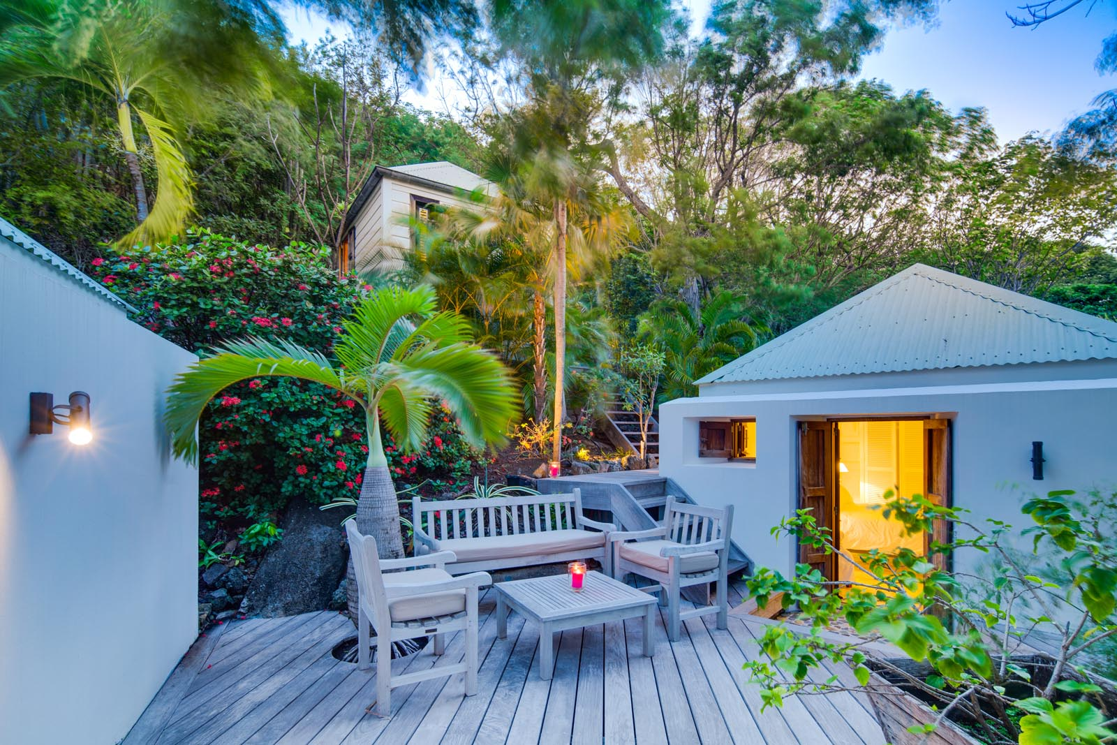 The private terrace of one of the bedrooms at Villa Lama, Flamands Heights, St. Barths, Caribbean.