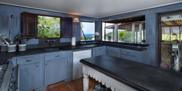 The fully equipped kitchen of Villa Lama, Flamands Heights, St. Barts, Caribbean.