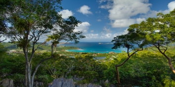 The stunning view of Saint-Jean Bay from Villa de Moh, Heights of Lurin, St. Barts.