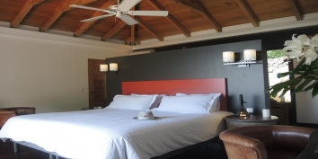 There are three luxurious and spacious bedrooms at Villa de Moh, Heights of Lurin, St. Barts.