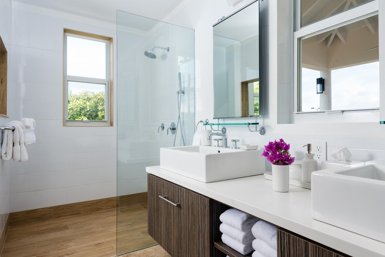Each master bedroom has a private, ensuite bathroom at Villa Isla, Long Bay Beach, Providenciales (Provo), Turks and Caicos Islands