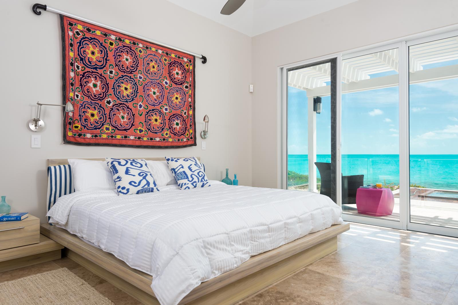 Each of the large bedrooms of this Turks and Caicos luxury villa has a queen sized bed