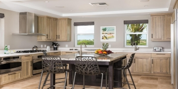 The elegant kitchen if fully equipped with everything you may need while on vacation in the Turks and Caicos Islands