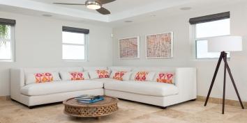 Light, spacious and contemporary living room of Villa Isla, Long Bay Beach, Providenciales (Provo), Turks and Caicos Islands