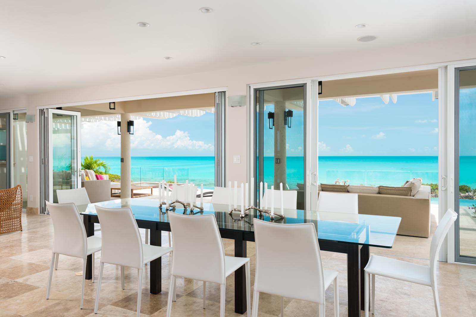 The indoor dining area of this Providenciales luxury villa rental