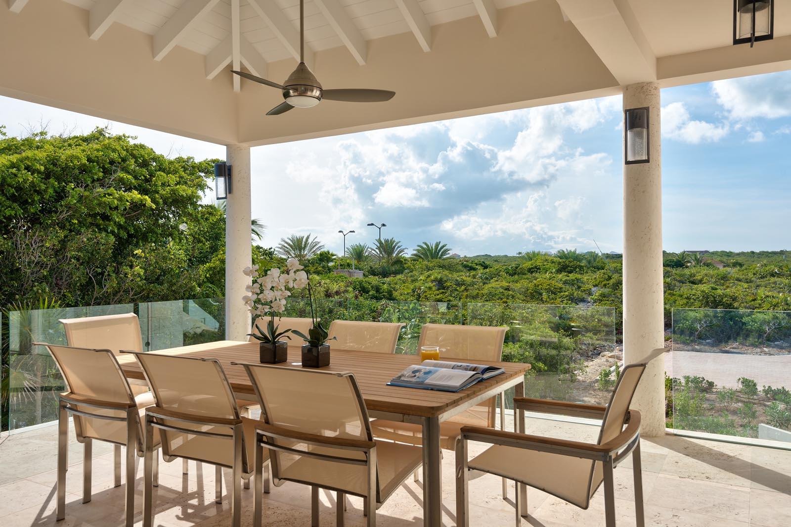 The outdoor dining area of Villa Isla, Long Bay Beach, Providenciales (Provo), Turks and Caicos Islands
