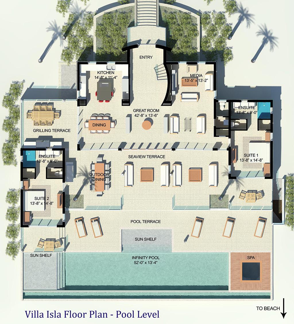 The ground floor plan of Villa Isla, Long Bay Beach, Providenciales (Provo), Turks and Caicos Islands