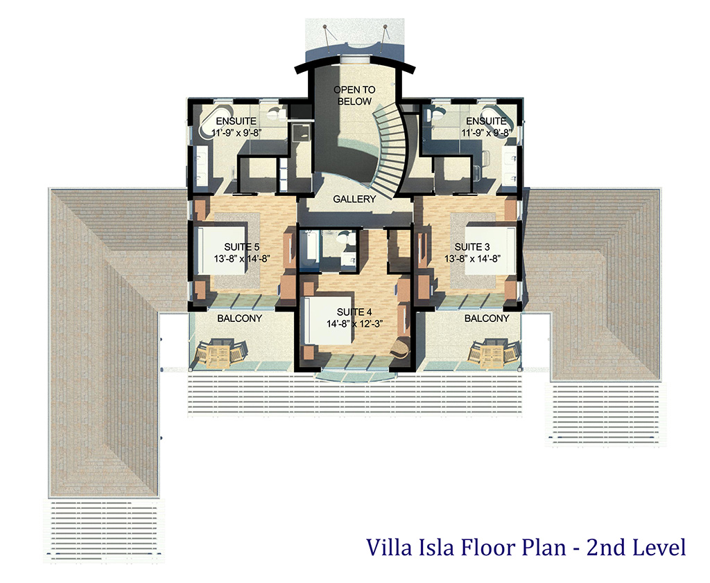 The upper floor plan of Villa Isla, Long Bay Beach, Providenciales (Provo), Turks and Caicos Islands