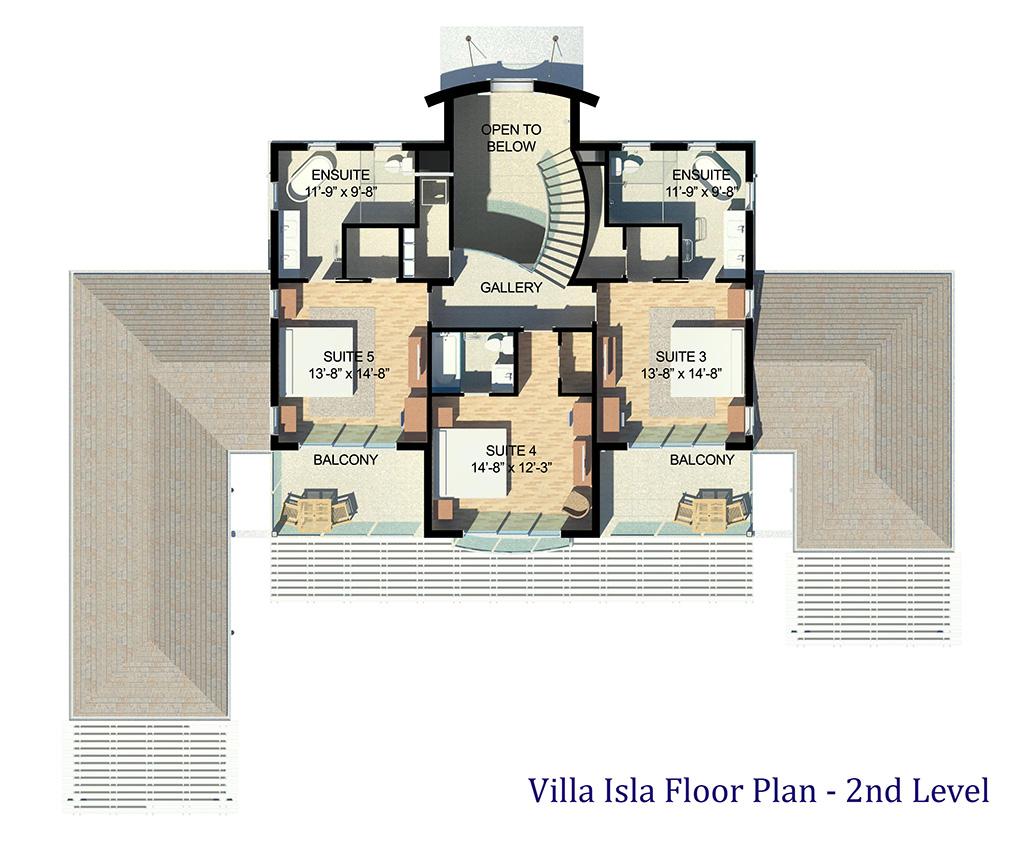 The upper floor plan of Villa Isla, Long Bay Beach, Providenciales (Provo), Turks and Caicos Islands