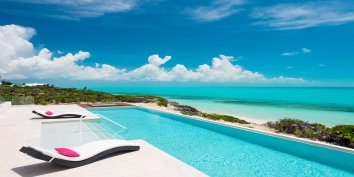 The infinity-edge pool is 52ft (6m) long at Villa Isla, Long Bay Beach, Providenciales (Provo), Turks and Caicos Islands