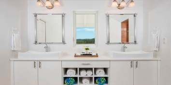Each bedroom of this Turks and Caicos beach villa has a private en-suite bathroom.